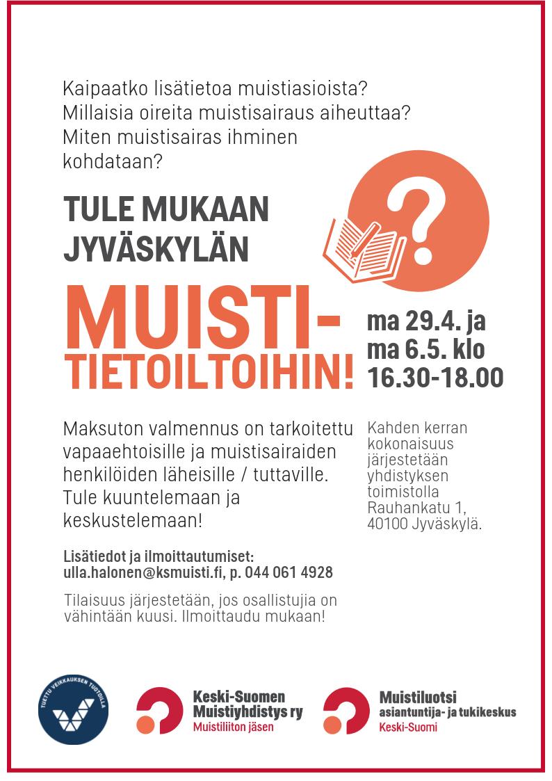 Muistitietoillat Jyväskylässä 29.4. ja 6.5.